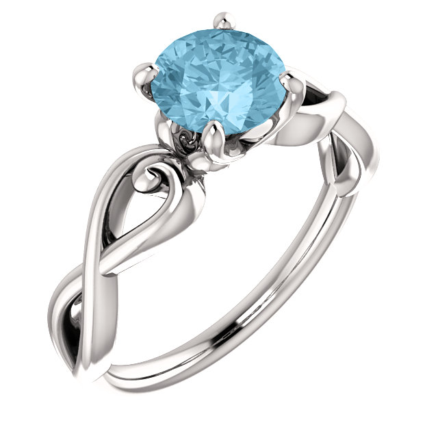 Fine Quality 14 Karat White Gold Aquamarine Ring