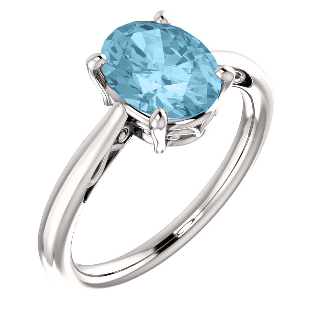 Easy Gift in 14 Karat White Gold Aquamarine Ring