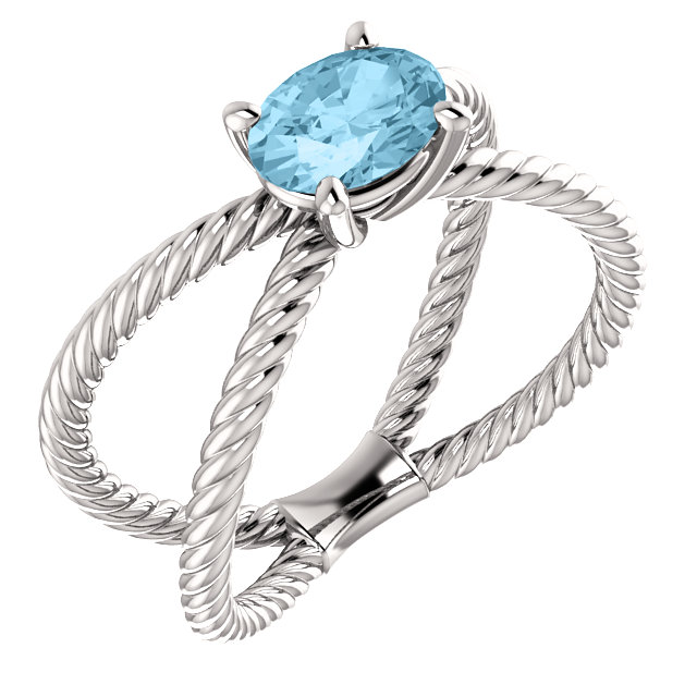 Great Buy in 14 KT White Gold Aquamarine Rope Ring