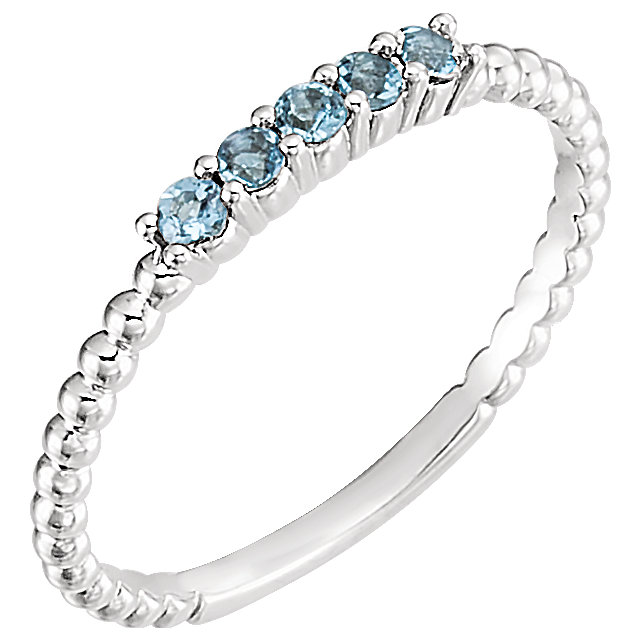 Jewelry Find 14 KT White Gold Aquamarine Stackable Ring