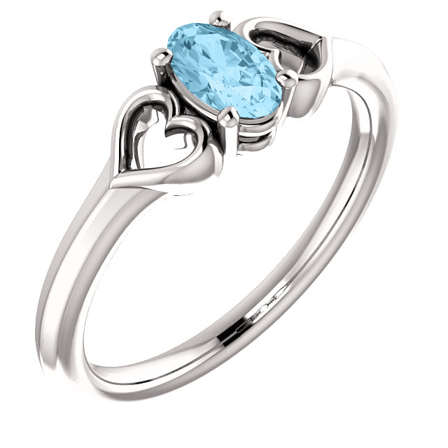 Great Gift in 14 Karat White Gold Aquamarine Youth Heart Ring