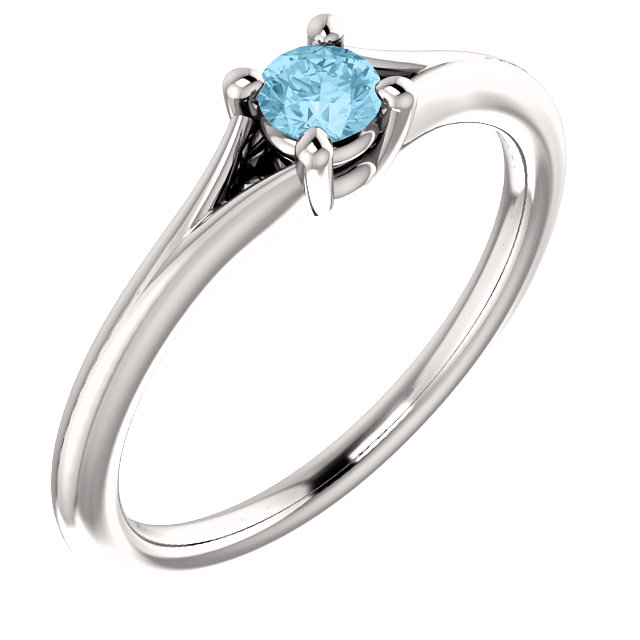 Must See 14 KT White Gold Aquamarine Youth Ring