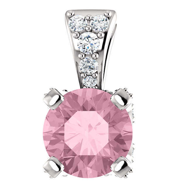 Chic 14 Karat White Gold Baby Pink Topaz & 0.10 Carat Total Weight Diamond Pendant