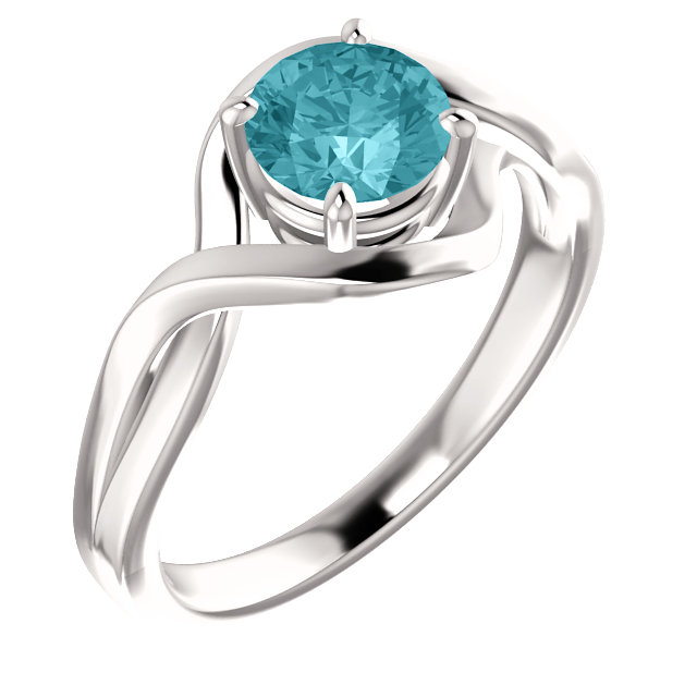 Alluring 14 Karat White Gold Blue Round Genuine Blue Zircon Ring
