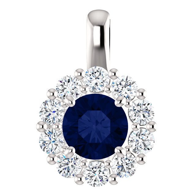 Perfect Gift Idea in 14 Karat White Gold Blue Sapphire & 0.50 Carat Total Weight Diamond Pendant