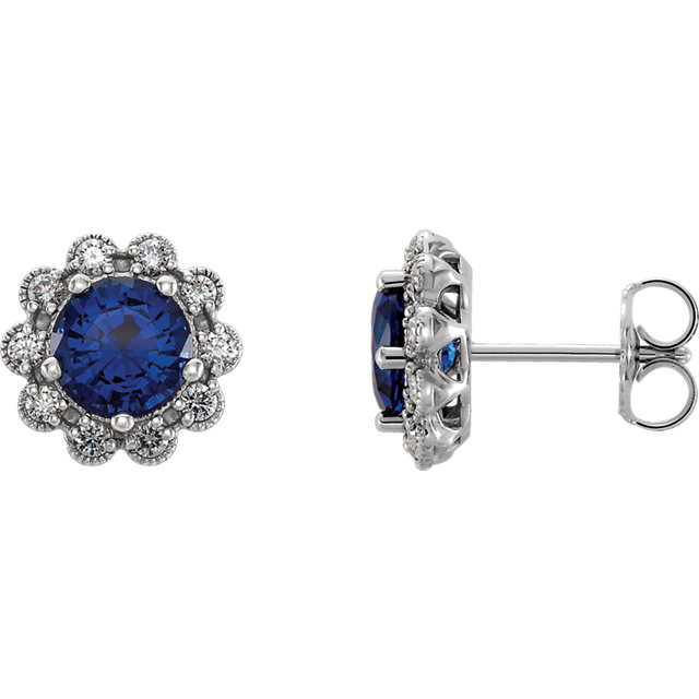 14 Karat White Gold Blue Sapphire & 0.33 Carat Diamond Earrings