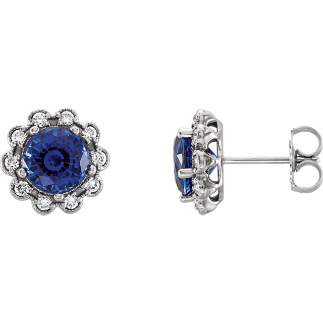 Appealing Jewelry in 14 Karat White Gold Blue Sapphire & 0.33 Carat Total Weight Diamond Earrings