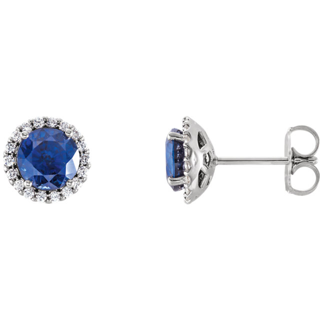 Fine Quality 14 Karat White Gold Blue Sapphire & 0.20 Carat Total Weight Diamond Earrings