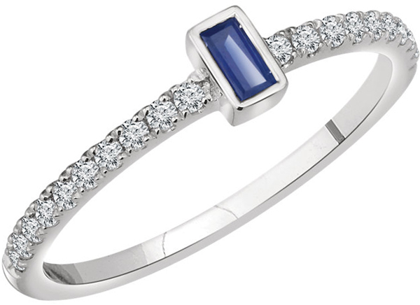 14 Karat White Gold Blue Sapphire & 1/5 Carat Total Weight Diamond Ring