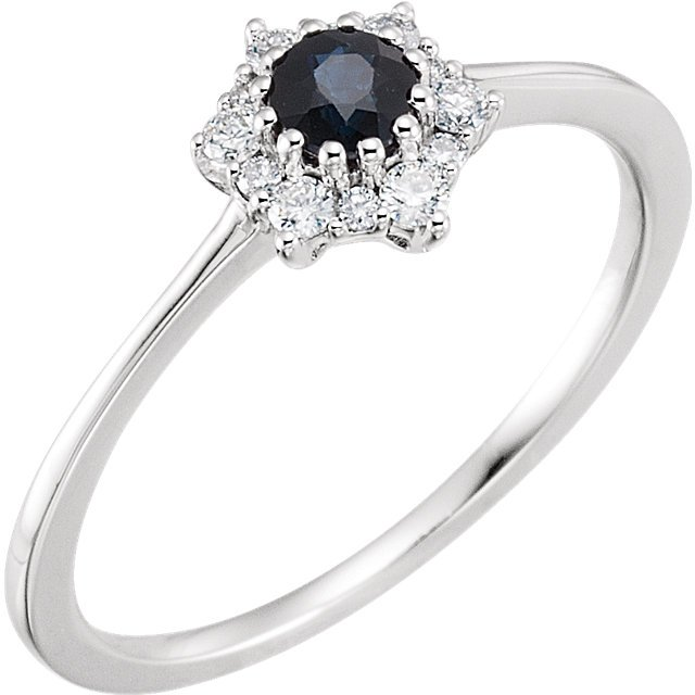 14 Karat White Gold Blue Sapphire & 1/8 Carat Total Weight Diamond Ring