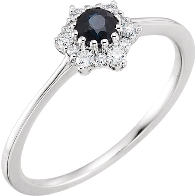 14 KT White Gold Blue Sapphire & 1/8 Carat TW Diamond Ring