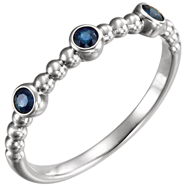 14 Karat White Gold Blue Sapphire Beaded Ring