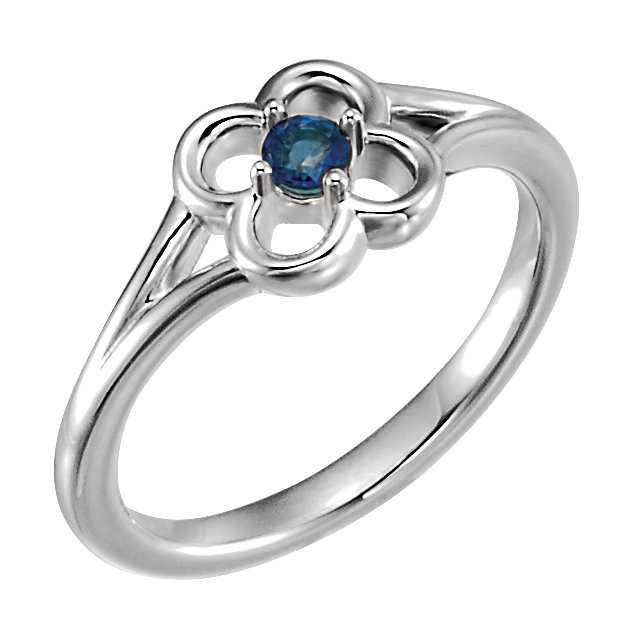 Fine 14 KT White Gold Blue Sapphire Flower Youth Ring