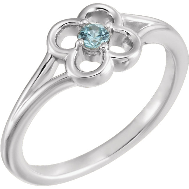14 Karat White Gold Blue Sapphire Flower Youth Ring