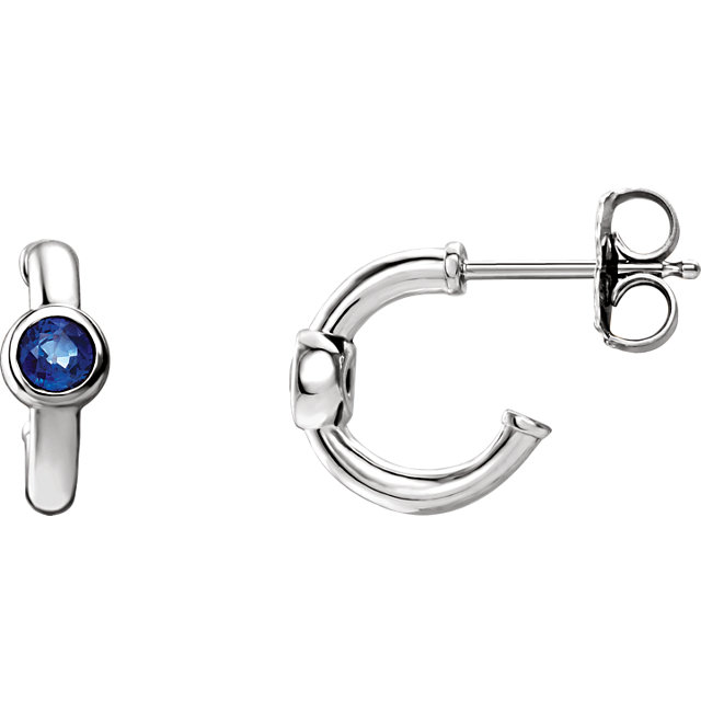 Great Gift in 14 Karat White Gold Blue Sapphire J-Hoop Earrings