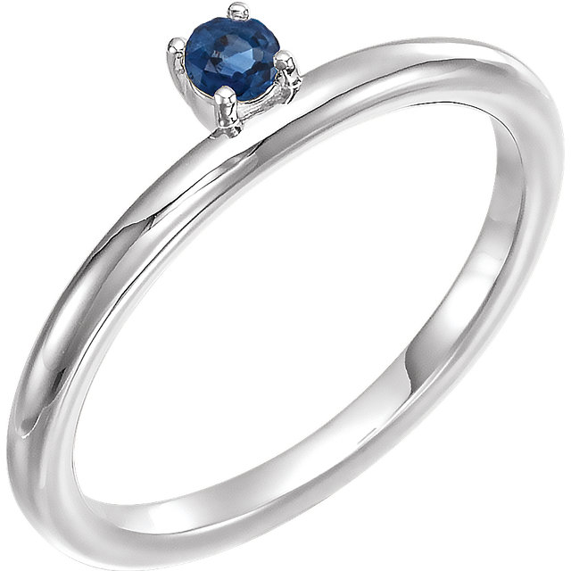 Contemporary 14 Karat White Gold Blue Sapphire Stackable Ring