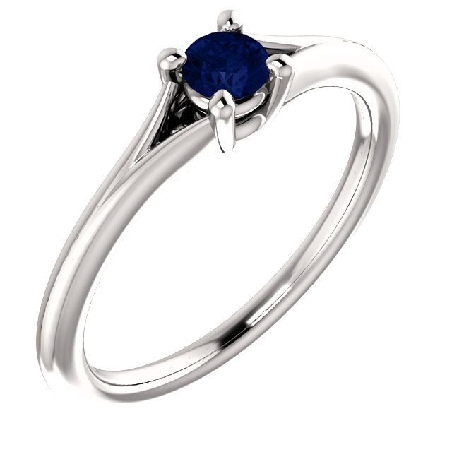 Perfect Jewelry Gift 14 Karat White Gold Blue Sapphire Youth Ring