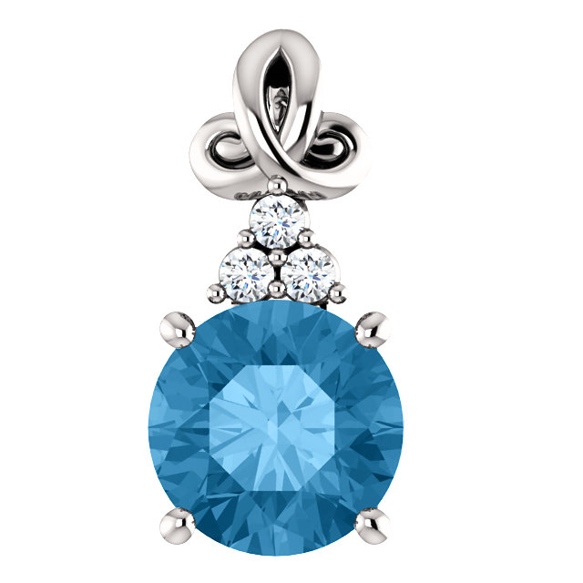 Surprise Her with  14 Karat White Gold Blue Topaz and .03 Carat Total Weight Diamond Pendant