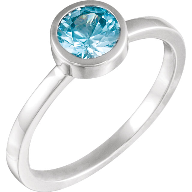 Stylish 14 Karat White Gold Round Genuine Blue Zircon Ring