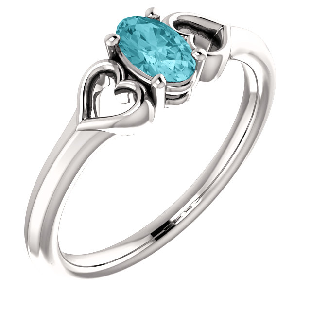 Shop 14 Karat White Gold Blue Zircon Youth Heart Ring