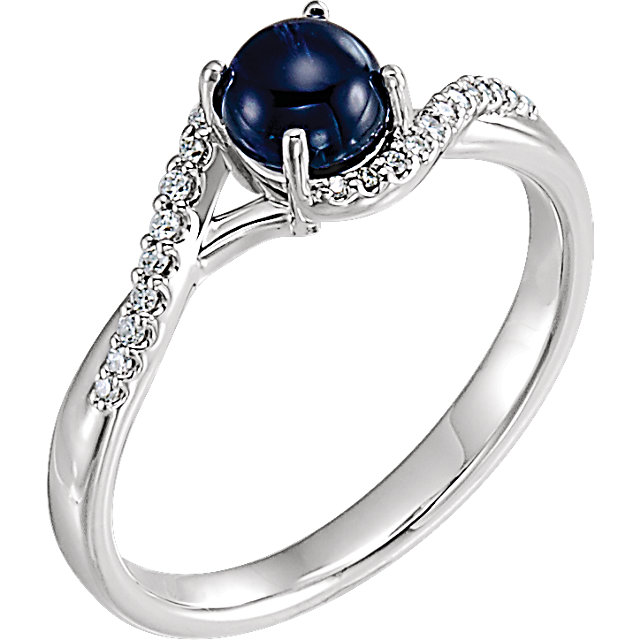 Fine Quality 14 Karat White Gold Cabochon Blue Sapphire & 0.50 Carat Total Weight Diamond Ring