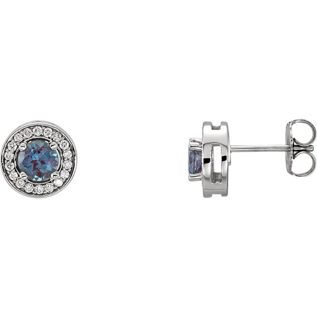 Perfect Gift Idea in 14 Karat White Gold Genuine Chatham Created Created Alexandrite & 0.20 Carat Total Weight Diamond Earrings