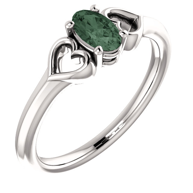 Gorgeous 14 Karat White Gold Genuine Chatham Created Created Alexandrite Youth Heart Ring