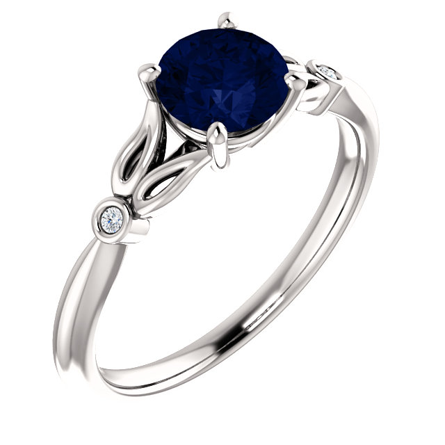Low Price on 14 KT White Gold Genuine Chatham Created Created Blue Sapphire & .02 Carat TW Diamond Ring