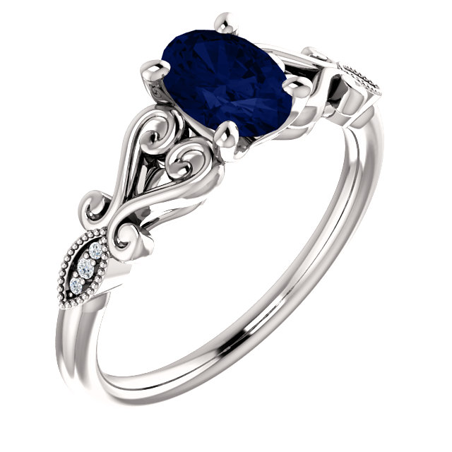 14 Karat White Gold Genuine Chatham Blue Sapphire & .02 Carat Diamond Ring