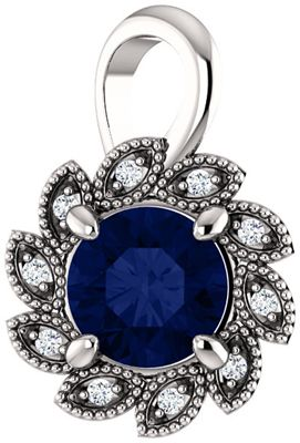 Chic 14 Karat White Gold Genuine Chatham Created Created Blue Sapphire & .04 Carat Total Weight Diamond Pendant