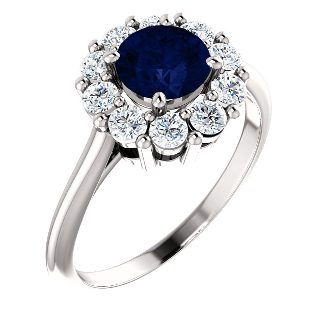 14 Karat White Gold Genuine Chatham Blue Sapphire & 0.50 Carat Diamond Ring