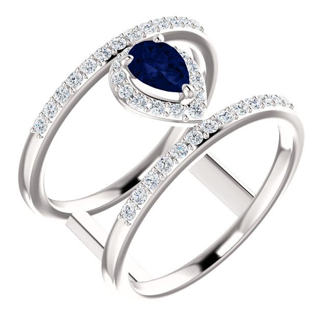 Eye Catchy 14 Karat White Gold Genuine Chatham Created Created Blue Sapphire & 0.33 Carat Total Weight Diamond Ring
