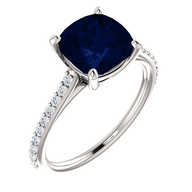 Genuine Created Sapphire Ring in 14 Karat White Gold Chatham Created Created Genuine Sapphire & 0.20 Carat Diamond Ring