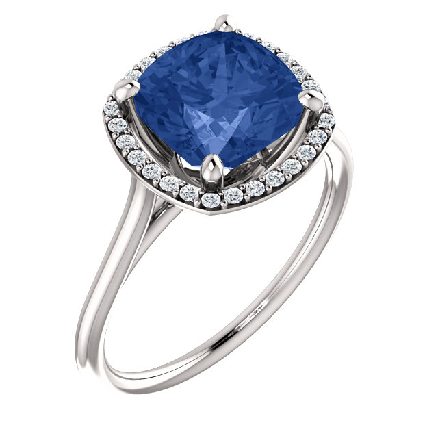 Easy Gift in 14 Karat White Gold Genuine Chatham Created Created Blue Sapphire & 0.17 Carat Total Weight Diamond Ring