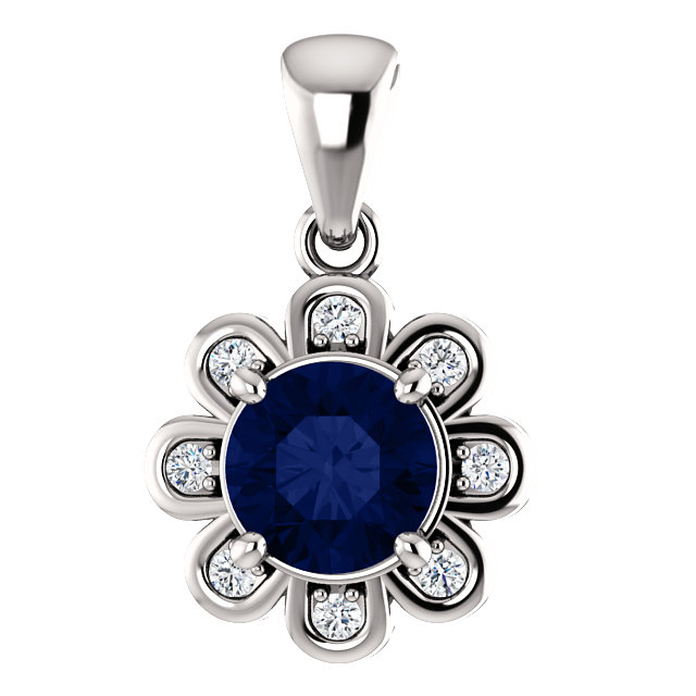 Great Buy in 14 Karat White Gold Chatham® Created Blue Sapphire & 0.12 Carat Total Weight Diamond Pendant