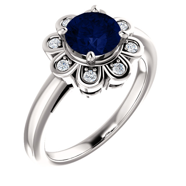 Wonderful 14 Karat White Gold Genuine Chatham Created Created Blue Sapphire & 0.12 Carat Total Weight Diamond Ring