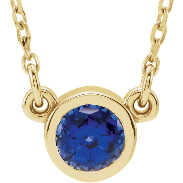 Low Price on Quality 14 KT White Gold Genuine Chatham Created Created Blue Sapphire 16