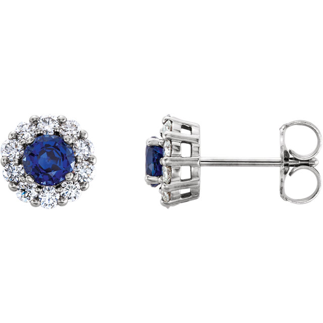 Beautiful 14 Karat White Gold Genuine Chatham Created Created Blue Sapphire & 0.40 Carat Total Weight Diamond Halo-Style Earrings