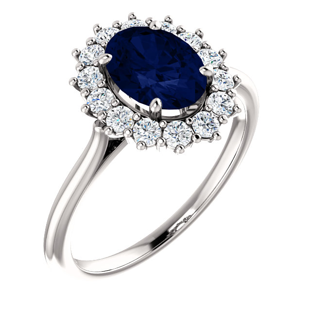 Great Gift in 14 Karat White Gold Genuine Chatham Created Created Blue Sapphire & 0.40 Carat Total Weight Diamond Ring