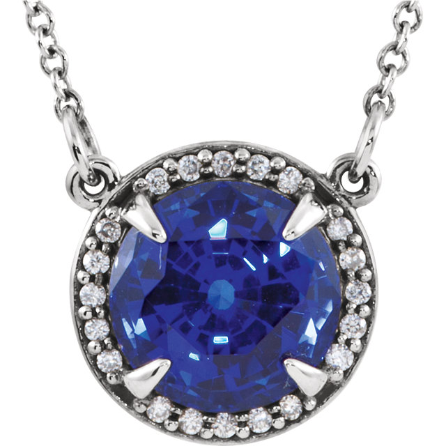Great Deal in 14 Karat White Gold 6mm Round Genuine Chatham Created Created Blue Sapphire and .04 Carat Total Weight Diamond 16