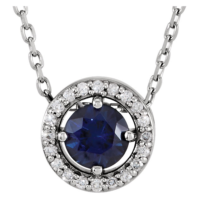 Fine Quality 14 Karat White Gold Genuine Chatham Created Created Blue Sapphire & .05 Carat Total Weight Diamond 16