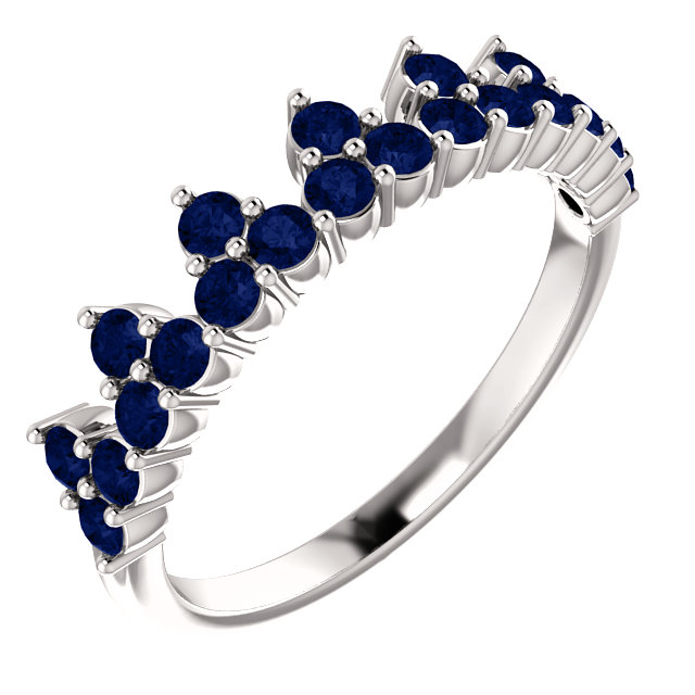 Contemporary 14 Karat White Gold Genuine Chatham Created Created Blue Sapphire Crown Ring