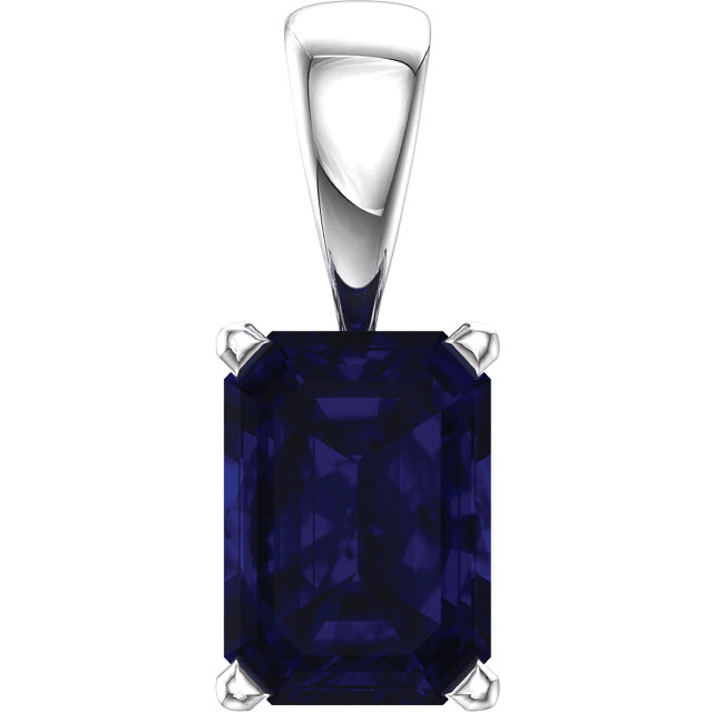Great Deal in 14 Karat White Gold Genuine Chatham Created Created Blue Sapphire Pendant