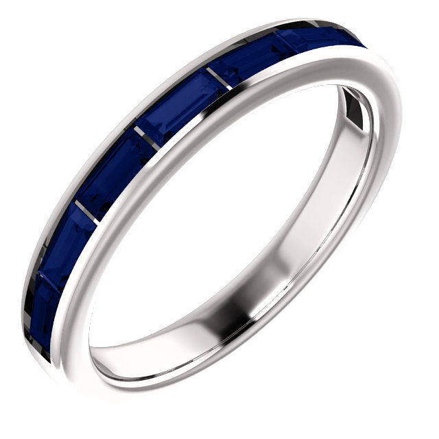 Genuine 14 Karat White Gold Genuine Chatham Blue Sapphire Ring