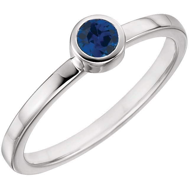 Easy Gift in 14 Karat White Gold Genuine Chatham Created Created Blue Sapphire Ring