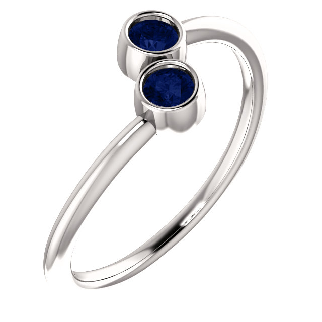 Beautiful 14 Karat White Gold Genuine Chatham Created Created Blue Sapphire Two-Stone Ring