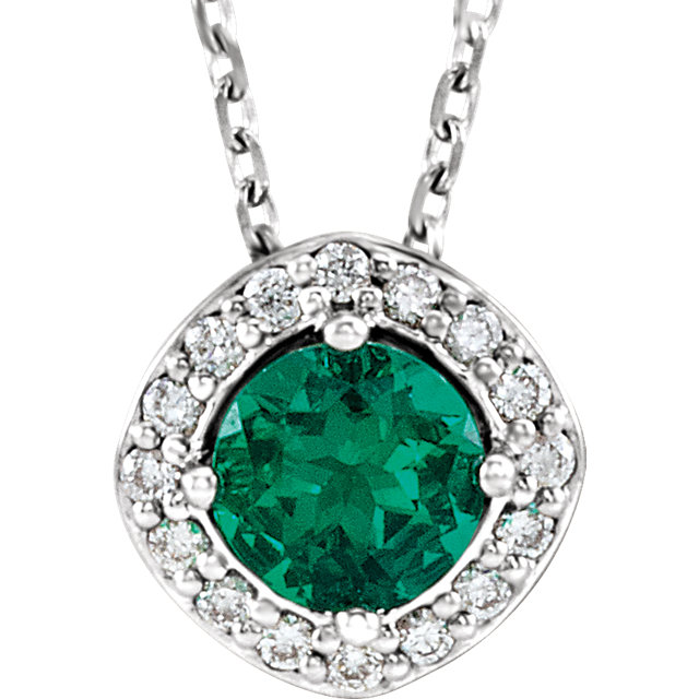 Pleasing 14 Karat White Gold Chatham Created Round Genuine Emerald & .08 Carat Total Weight Diamond Necklace