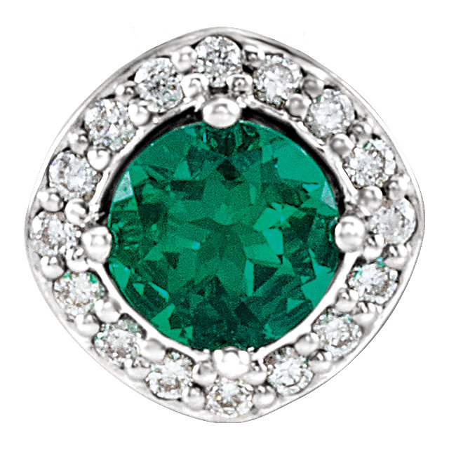 Extraordinary 14 Karat White Gold Chatham Created Round Genuine Emerald & .08 Carat Total Weight Diamond Pendant