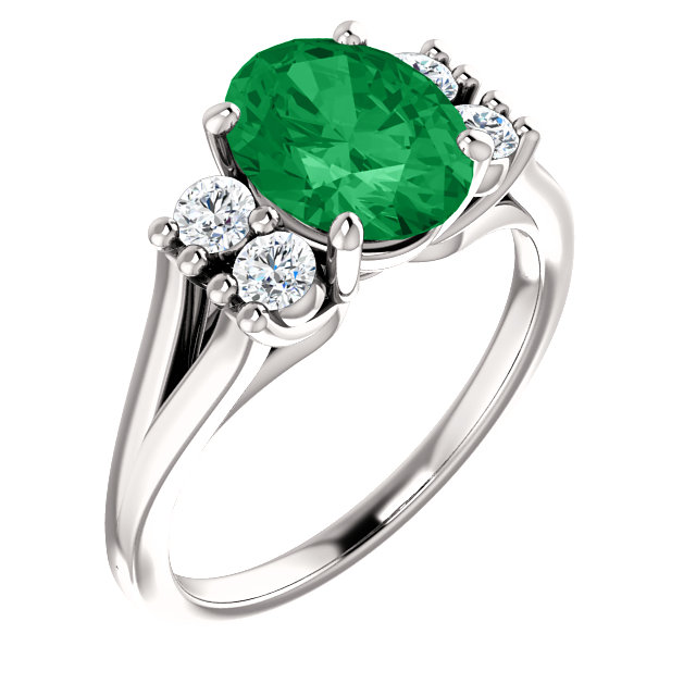 Genuine Created Emerald Ring in 14 Karat White Gold Chatham Created Created Emerald & 0.25 Carat Diamond Ring