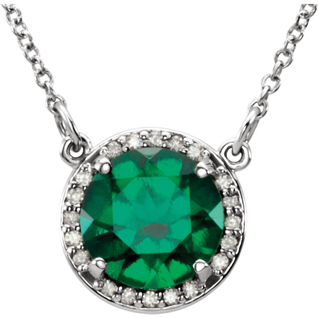 Eye Catchy 14 Karat White Gold 7mm Round Genuine Chatham Created Created Emerald and .04 Carat Total Weight Diamond 16